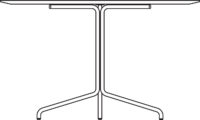 Table Ø1000 mm, height 720 mm, white pigmented oak laminate