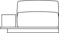 Sofa, 1-seater, plant holder right/left