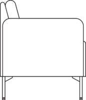 Sofa, 2-seater with armrests