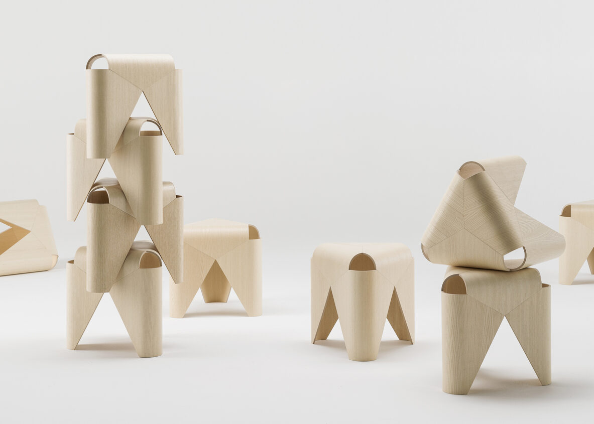 Falabella stool in wooden vener designed by Lucy Kurrein